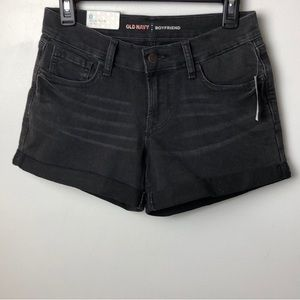 NWT Old Navy Black Denim Boyfriend Shorts Sz 0